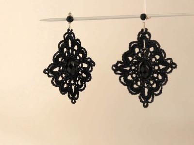 Orecchini pendenti neri all'uncinetto - by Maricò - Creazioni Uniche