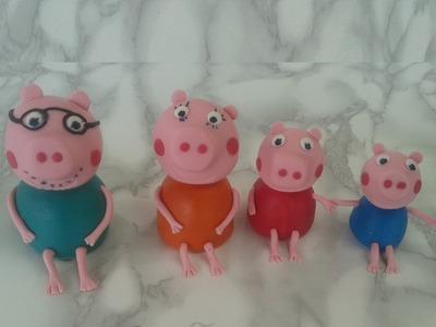 Tutorial Famiglia  Peppa Pig in pasta di zucchero, Family peppa pig fondant  tutorial