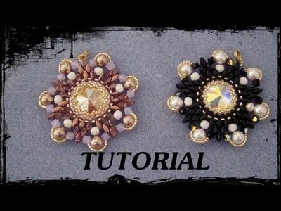 """Tutorial Perline: Ciondolo """"FLOWER"""" realizzato con perline delica, rocaille, superduo e swarovski"""