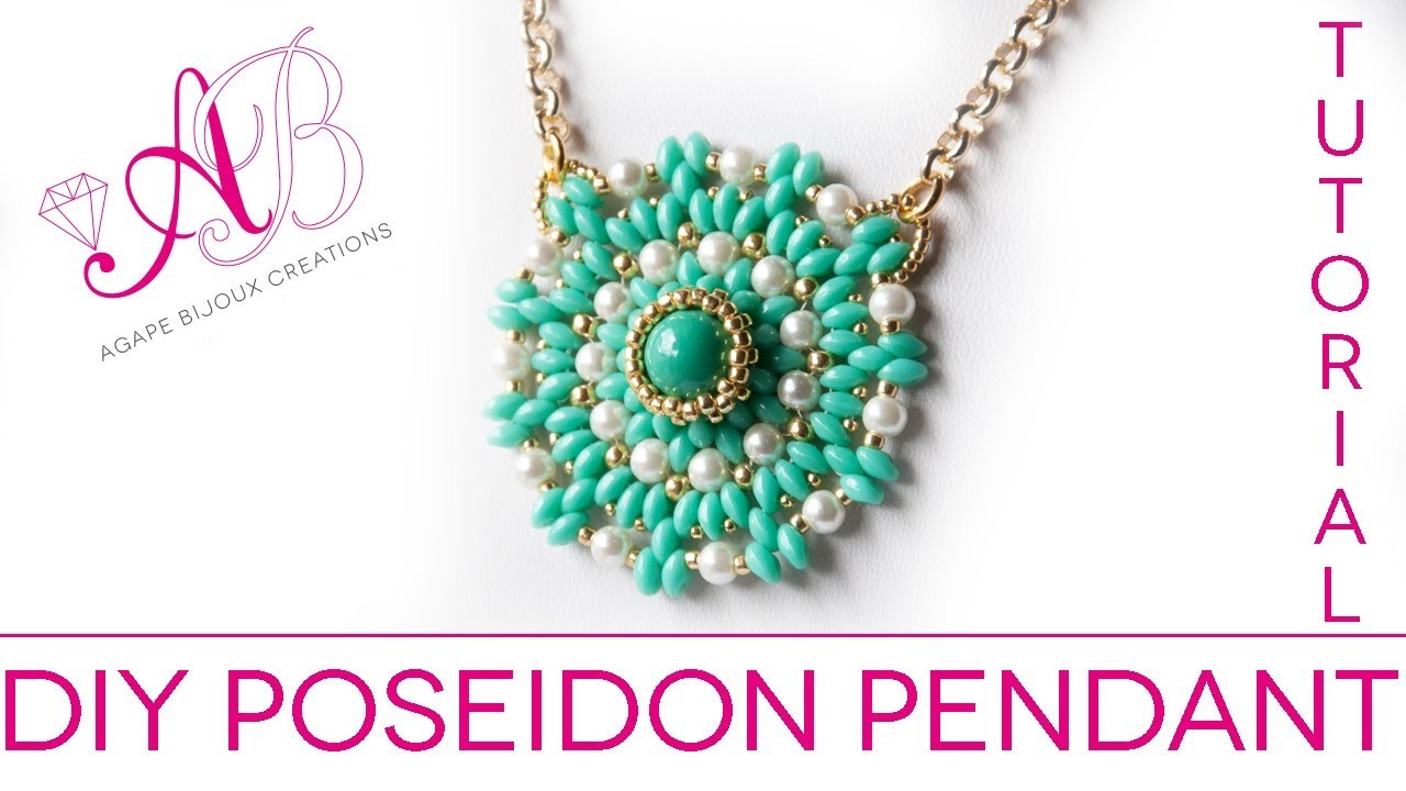 DIY TUTORIAL Poseidon Pendant - Ciondolo con twin beads, perle cerate e rocailles starlight