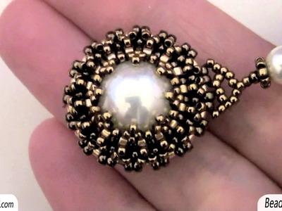 Sarubbest: Orecchini con perle: perla incastonata con perline Delica e Rocailles | Nuove Creazioni