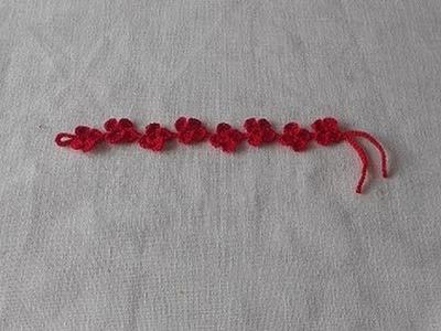 Uncinetto Crochet Braccialetto fiore Tipo Cruciani -Flower Bracelet