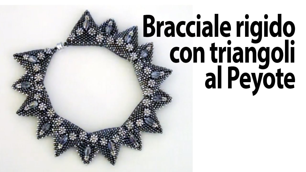 Sarubbest: bracciale bangle con triangoli al Peyote partendo dal progetto di una collana Sarubbest