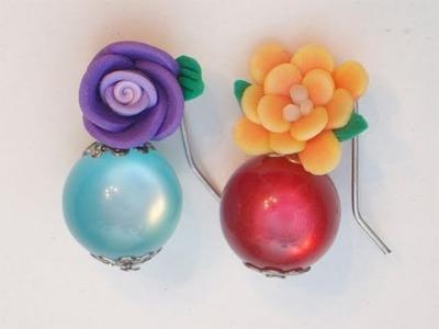 Sarubbest - Tutorial Orecchini fai da te: orecchini con perle e fiori in Fimo 2.2 | Tutorial Perline