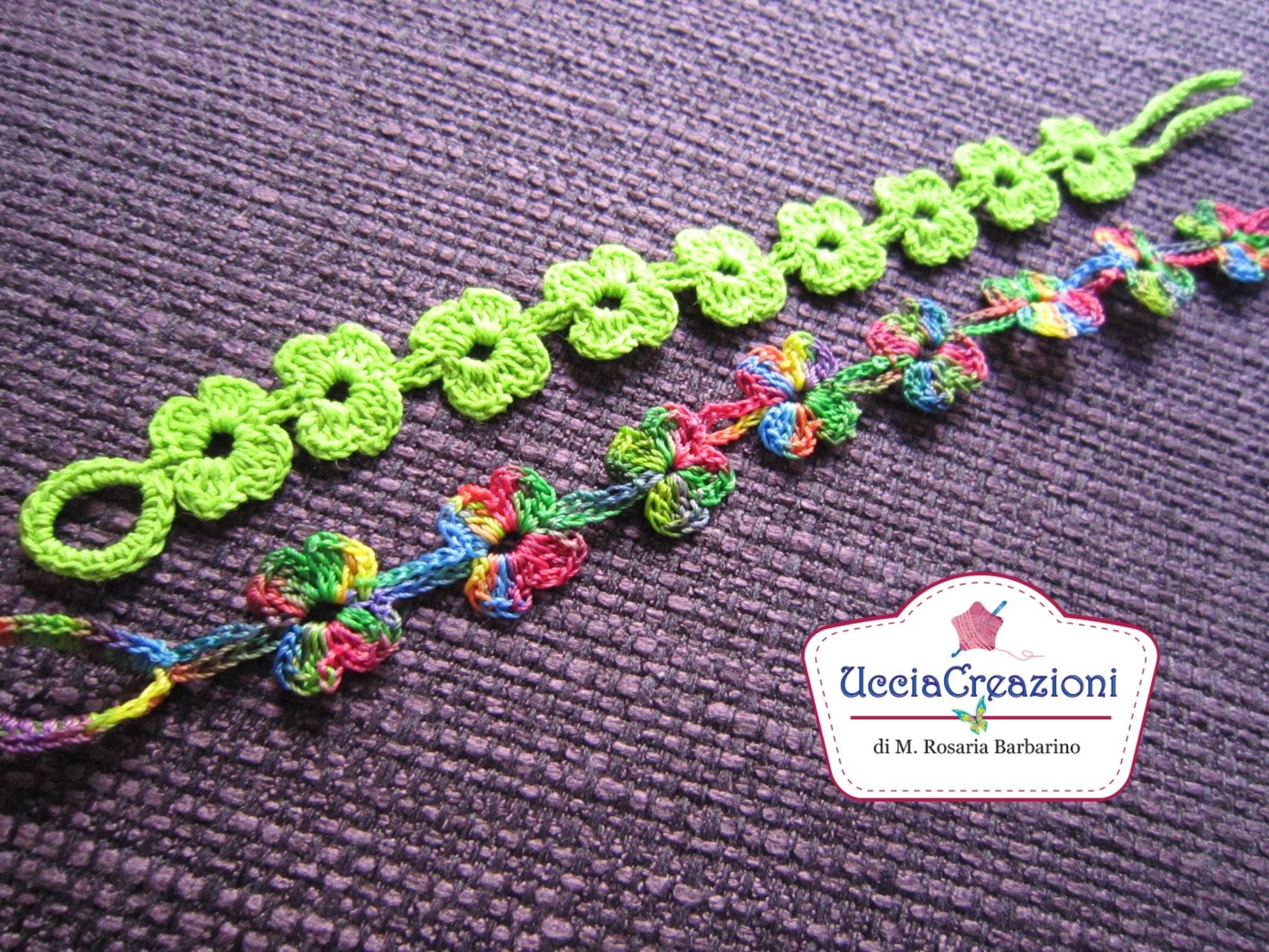 Tutorial 6-Senza Musica * Bracciali Fiore * Simil - Cruciani Uncinetto . Crochet Bracelets