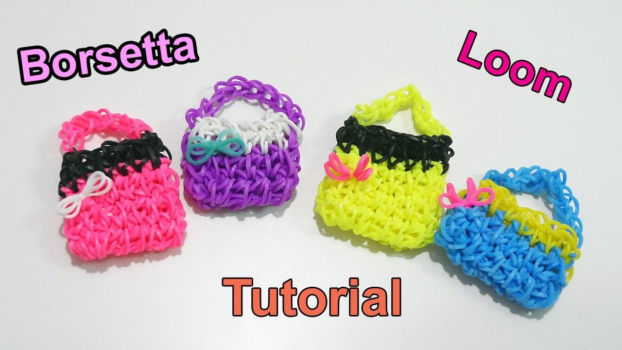 ♥Tutorial Borsetta 3D con Elastici Rainbow Loom Mini Purse.Handbag Charm (Senza Telaio )♥