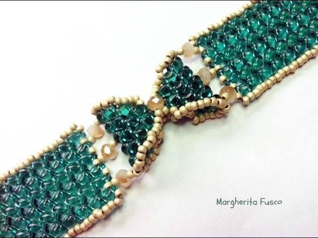 Tutorial come fare un bracciale a fiocco con perline superduo. twin  braccialetto Papillon