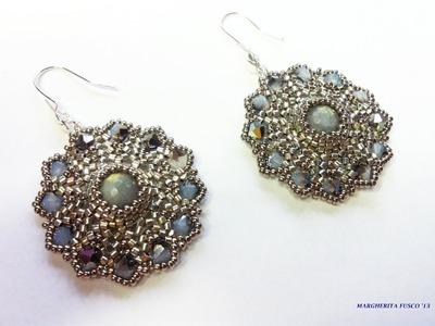 """Tutorial perline, orecchini """"Mini Eros"""" con delica rocailles e perle  peyote + herringbone"""