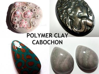 Cabochon in fimo per bijoux con perline peyote, embroidery e filigrane