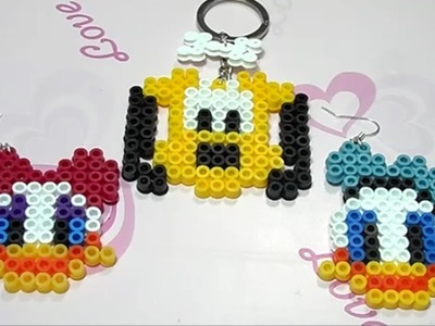 Paperino, Paperina e Pluto con Hama Beads.Charm Disney Collection con Perler Beads Tutorial