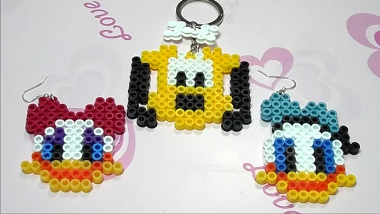 Paperino, Paperina e Pluto con Hama Beads.Charm Disney Collection con Perler Beads Tutorial