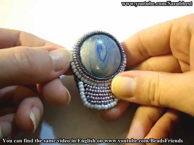 Sarubbest - Orecchini embroidery con cabochon in Fimo circondato da perline   Nuove Creazioni