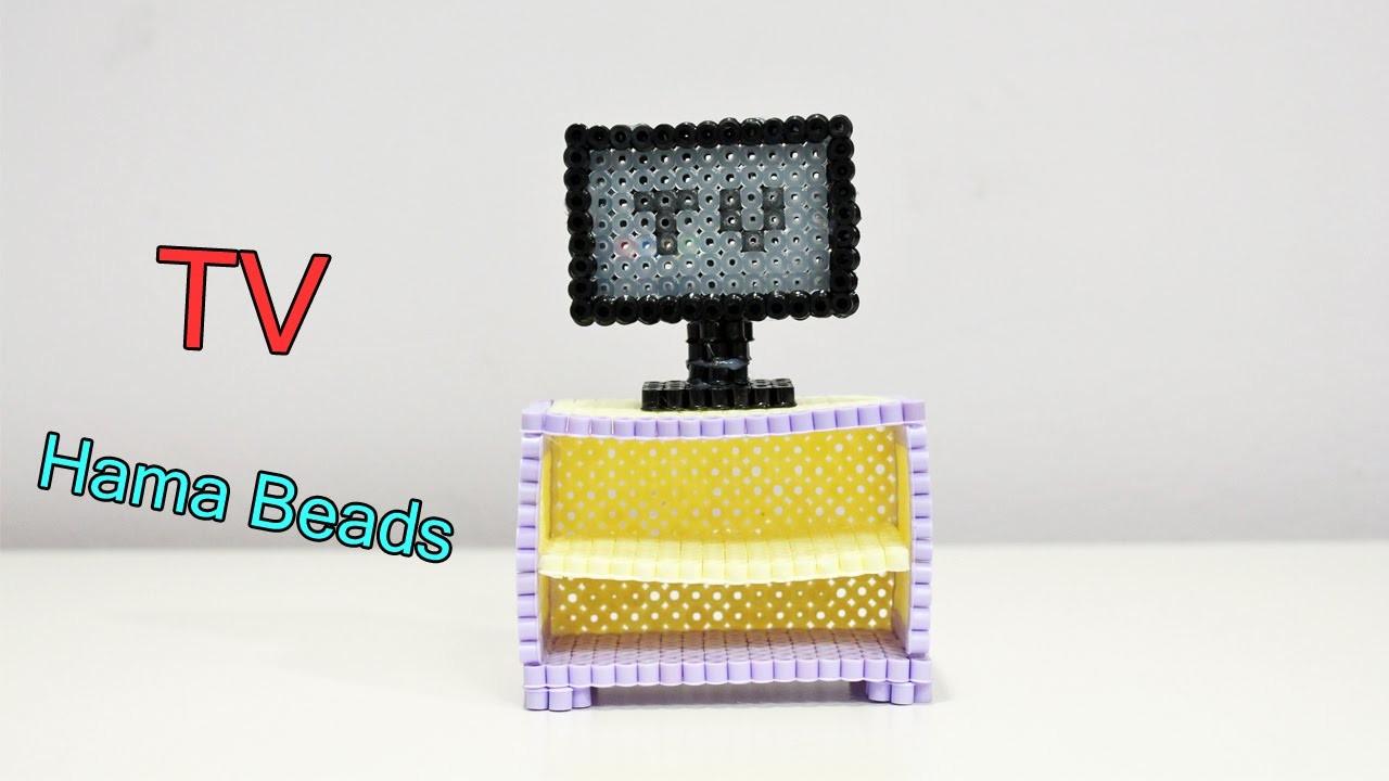 Televisore e Porta TV con Hama Beads.Perler Beads televisión Tutorial ♥