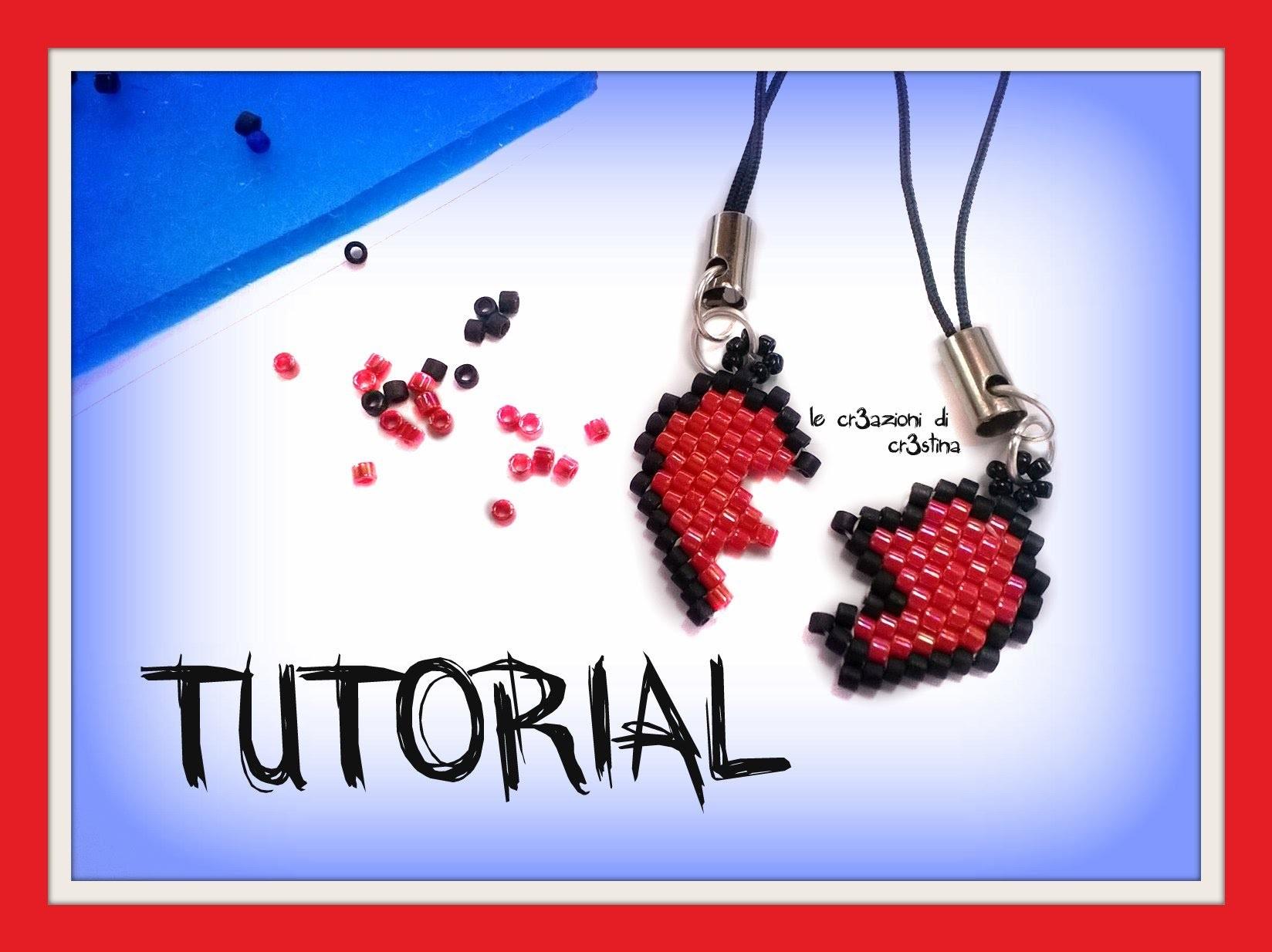 Tutorial San Valentino Phone strap. Portachiavi DOLCE META' - Cuore Peyote Brick Stitch (1 Parte)