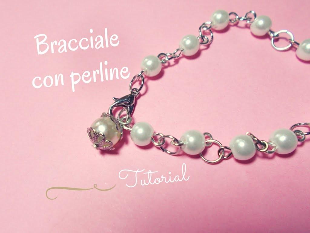 Bracciale con Perle Bianche ▹ FACILISSIMO!!! ◃ (con elementi PandaHall)
