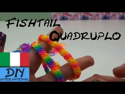 Come realizzare un braccialetto Loom Fishtail quadruplo - Quadrafishtail bracelet Tutorial Italiano