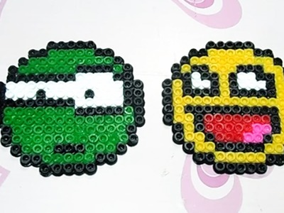 Due Faccine Emoticon con Hama Beads.Pyssla Tutorial |Perler Bead  Emoji Series Episode #3