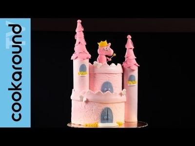 Torta castello con Peppa Pig Fatina. Pasta di zucchero