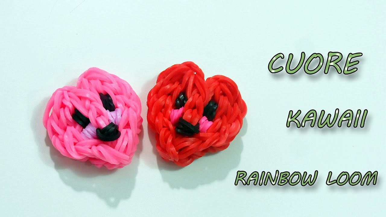 "♥ TUTORIAL: CHARM CUORE  KAWAII CON ELASTICI RAINBOW LOOM ""CHARM HEART KAWAII""♥"
