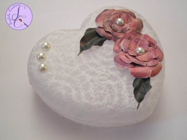 Tutorial: Decoupage con carta pizzo e fiori 3D (decoupage with lace paper and 3D flowers) [eng-sub]