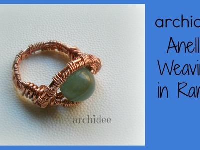 Tutorial   Tecnica Wire   Weaving   Anello in rame con perla in pietra dura   DIY Ring