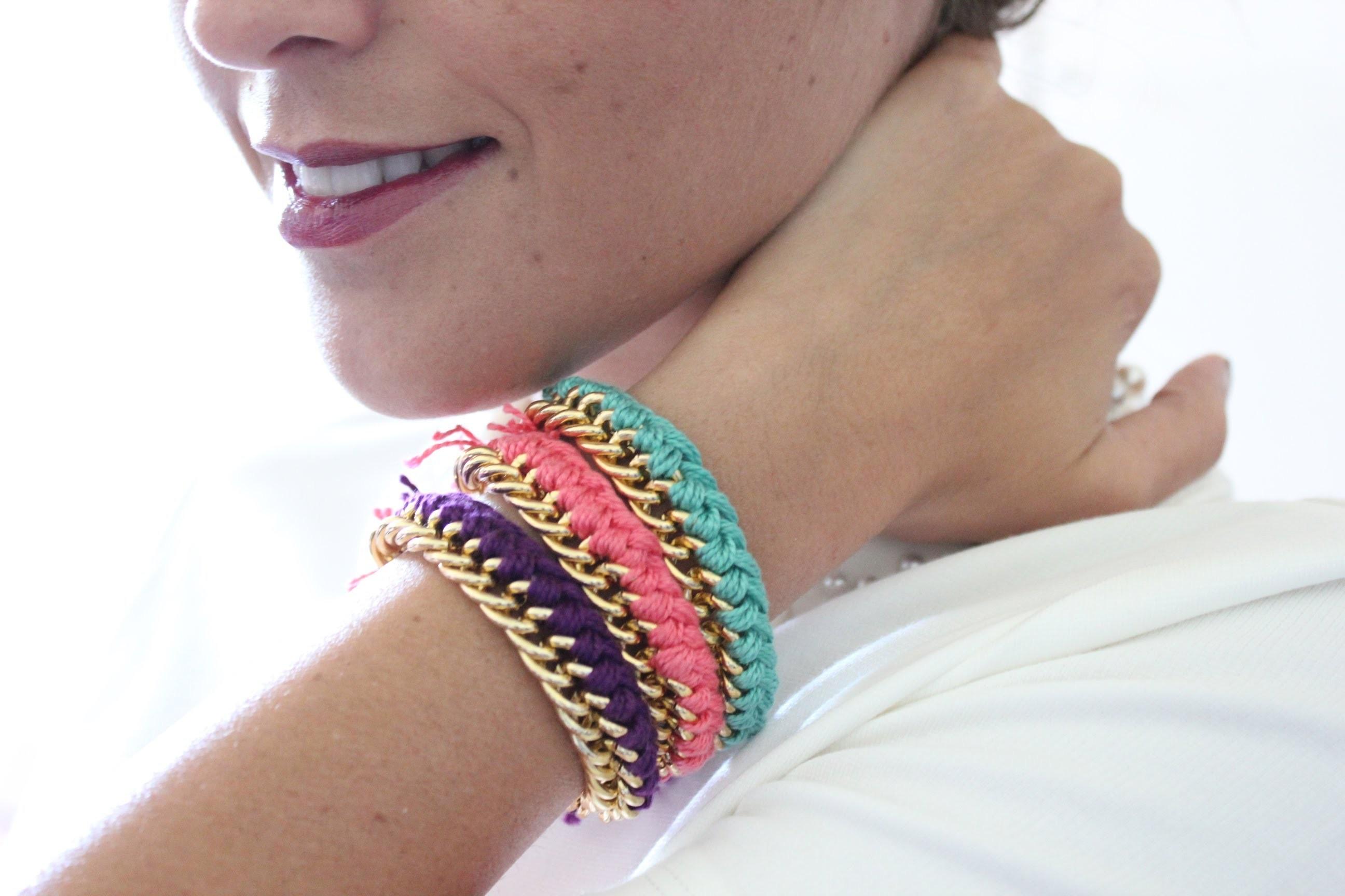 Tutorial bracciale catena e filo di cotone