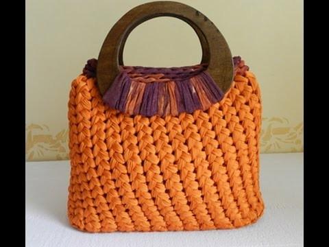 Tutorial punto spiga o punto Sery   Fondo pronto per borse  DIY crochet bolsos en trapillo