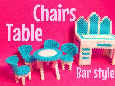 Diy chairs and table HAMABEADS.miny bar pyssla - mesa y silla perlerbeads