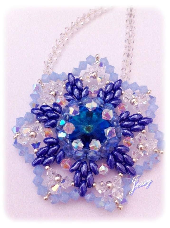 """Ciondolo fiore swarovski e superduo """" Non ti scordar di me"""" flower pendant"""