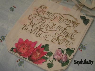 Tutorial: Decoupage su borsa in cotone con stencil sfumato
