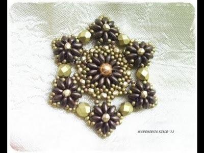 Tutorial perline, come fare un ciondolo a stella con le superduo Medina Pendant
