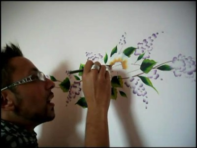One Stroke painting - Luca Sansone - Flowers on wall
