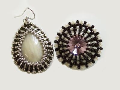 Sarubbest: Orecchini con perline: orecchini realizzati con Rivoli e cabochon in pasta polimerica