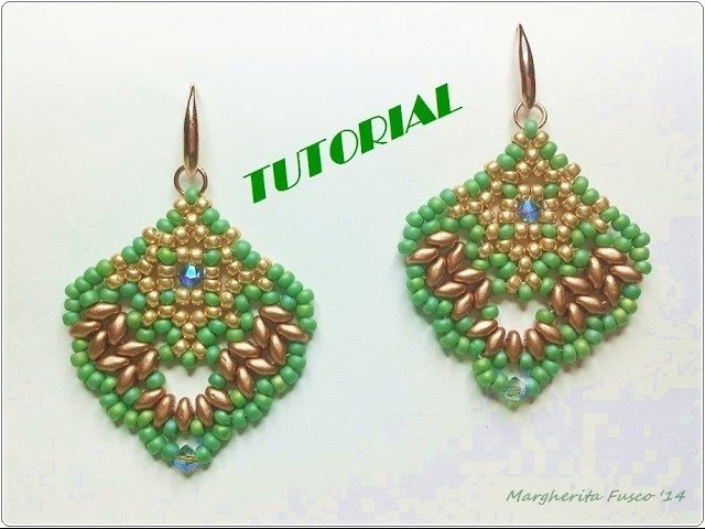 Tutorial perline: Orecchini Alicante con superduo. Bead tutorial