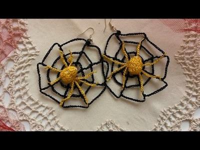 Tutorial uncinetto halloween orecchino ragnatela e ragno  parte2