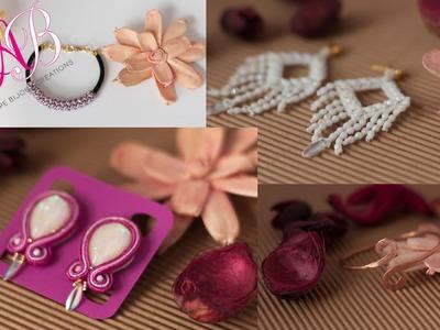 Orecchini soutache, orecchini con perline, bracciale wire, rosario