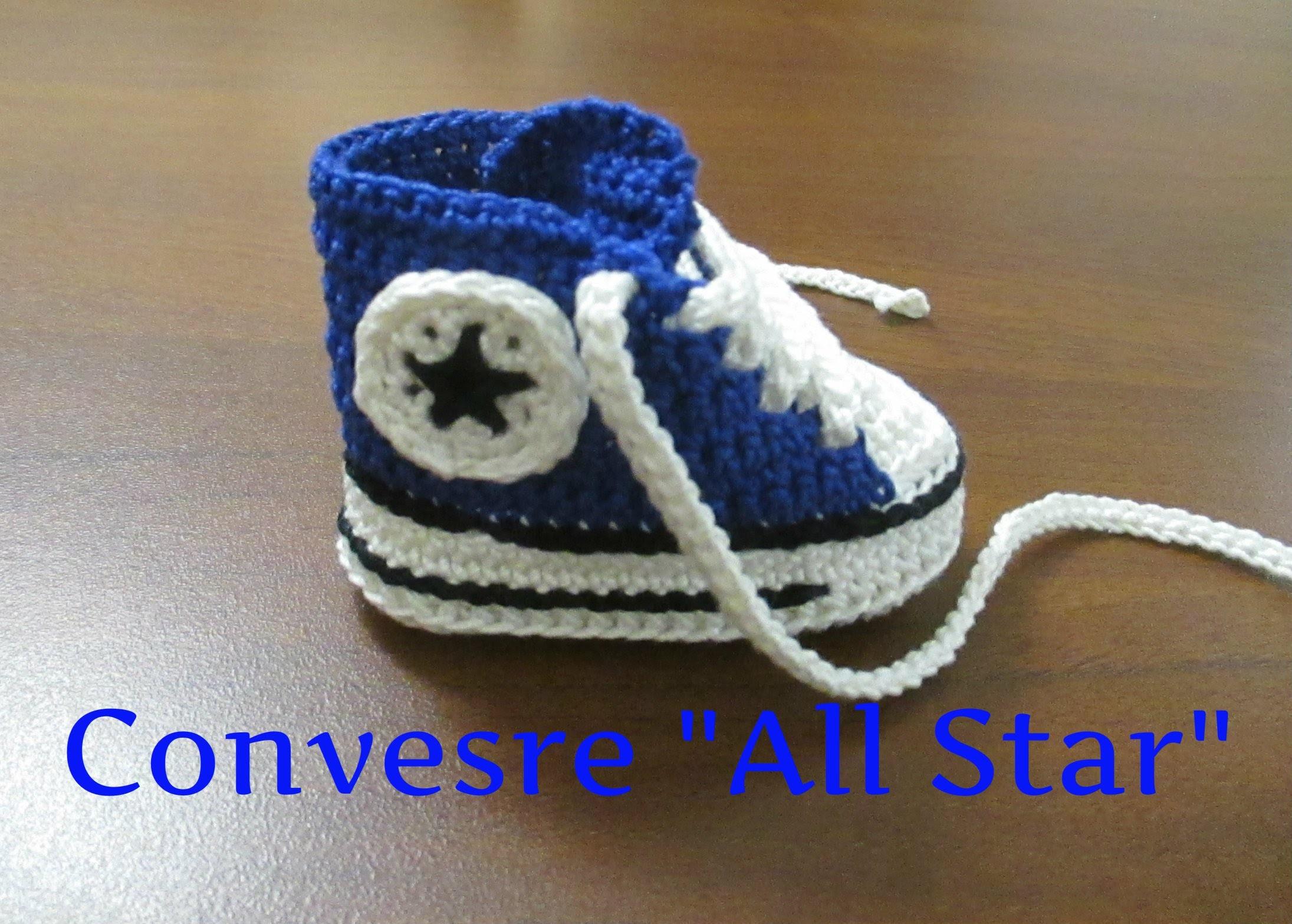 "Tutorial Uncinetto Scarpine Bebe'   Converse "" All Star""  I Parte"