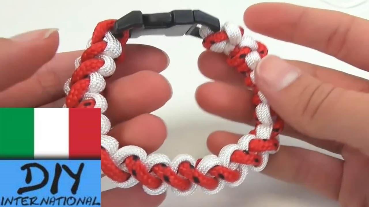 Braccialetto paracadute con due colori braccialetto annodato base semplice e fai da te