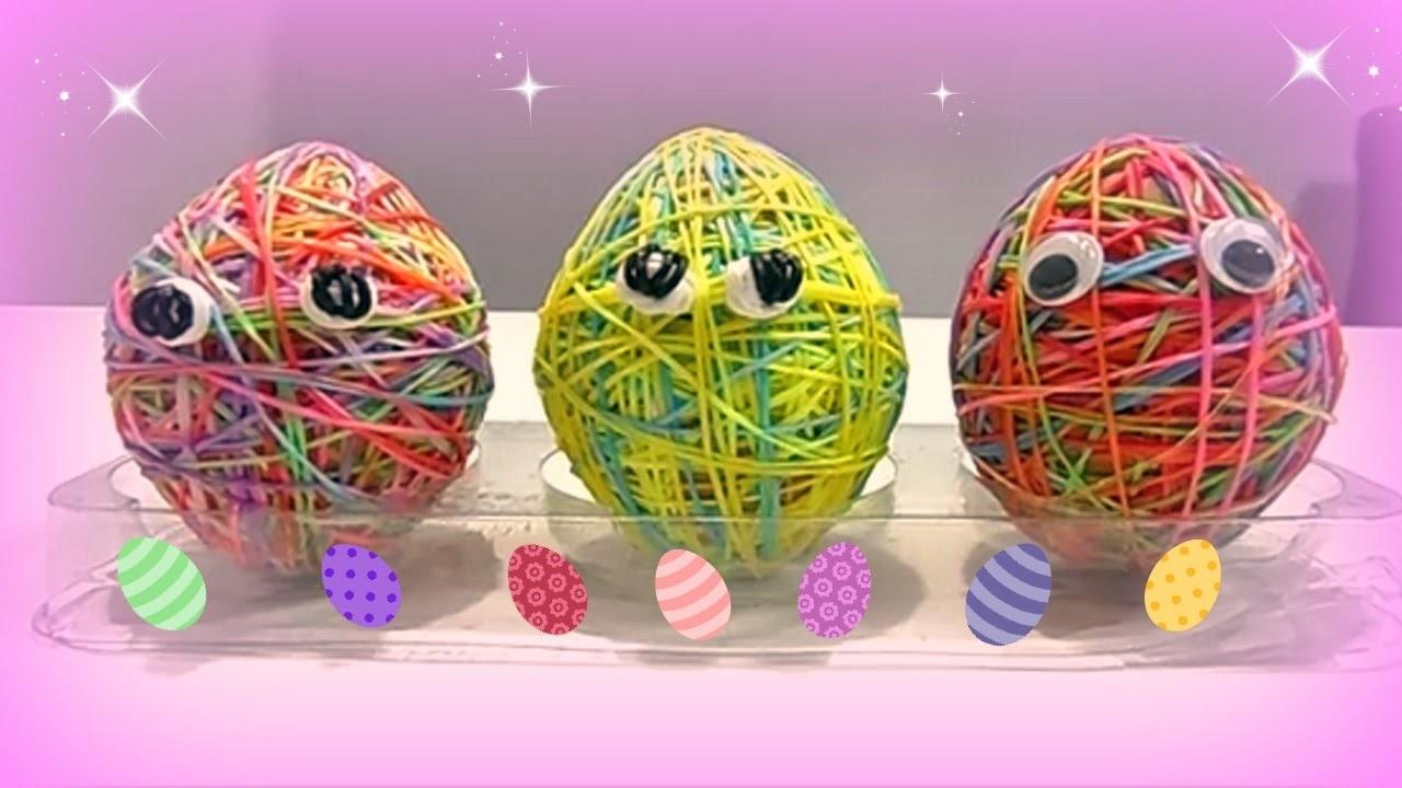 """Come Decorare un Uovo di Pasqua con Elastici Rainbow Loom """"Easter Egg""""♥"""