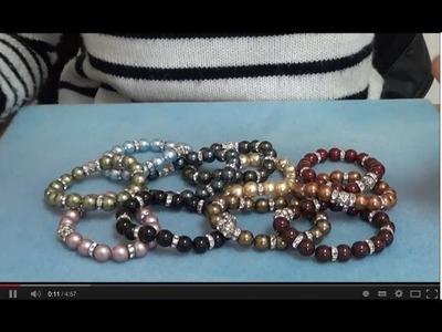 Tutorial Bracciale Elastico con Perle, Rondelle e Sfere Strass Swarovski - Millelucistones.com