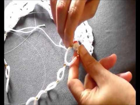 Collana Crochet Tatting Tutorial split ring cerchio contrario chiacchierino ad ago