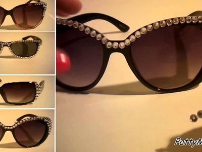 DIY Rhinestone Sunglasses. Occhiali con strass