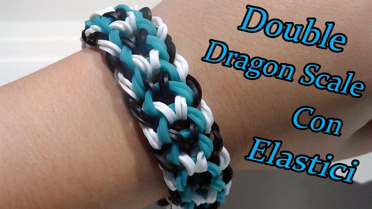 ♥ Braccialetto Double-Banded Dragon Scale Con  Elastici Rainbow Loom Tutorial ♥