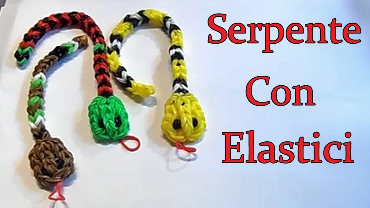 ♥Serpente Con Elastici Rainbow Loom Snake Charm Tutorial!♥