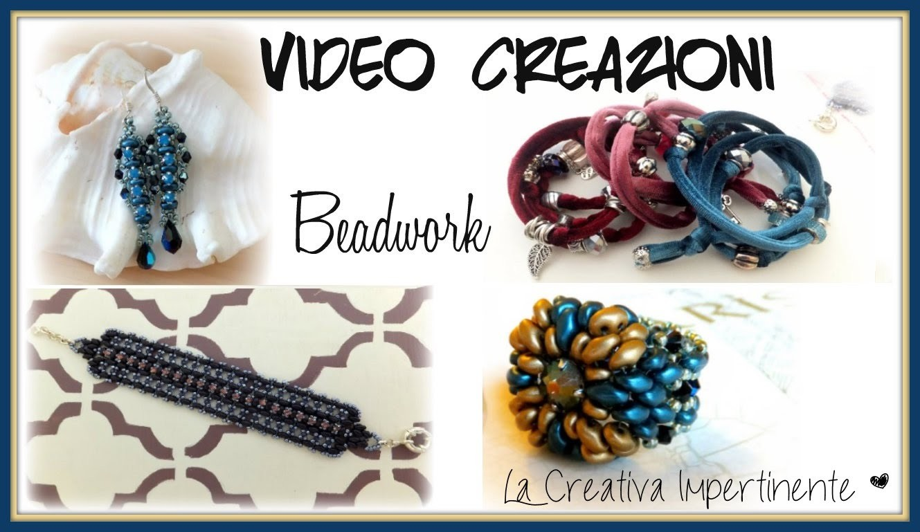 Video Creazioni - Bracciale, Anello e Orecchini con Perline - beadwork earrings, bracelet, ring