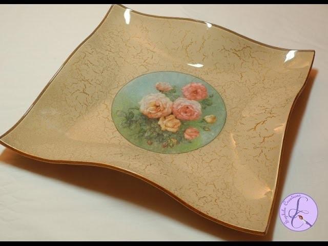 Tutorial: Svuotatasche di vetro con decoupage e cracklè (glass coin tray in decoupage) [eng-sub]