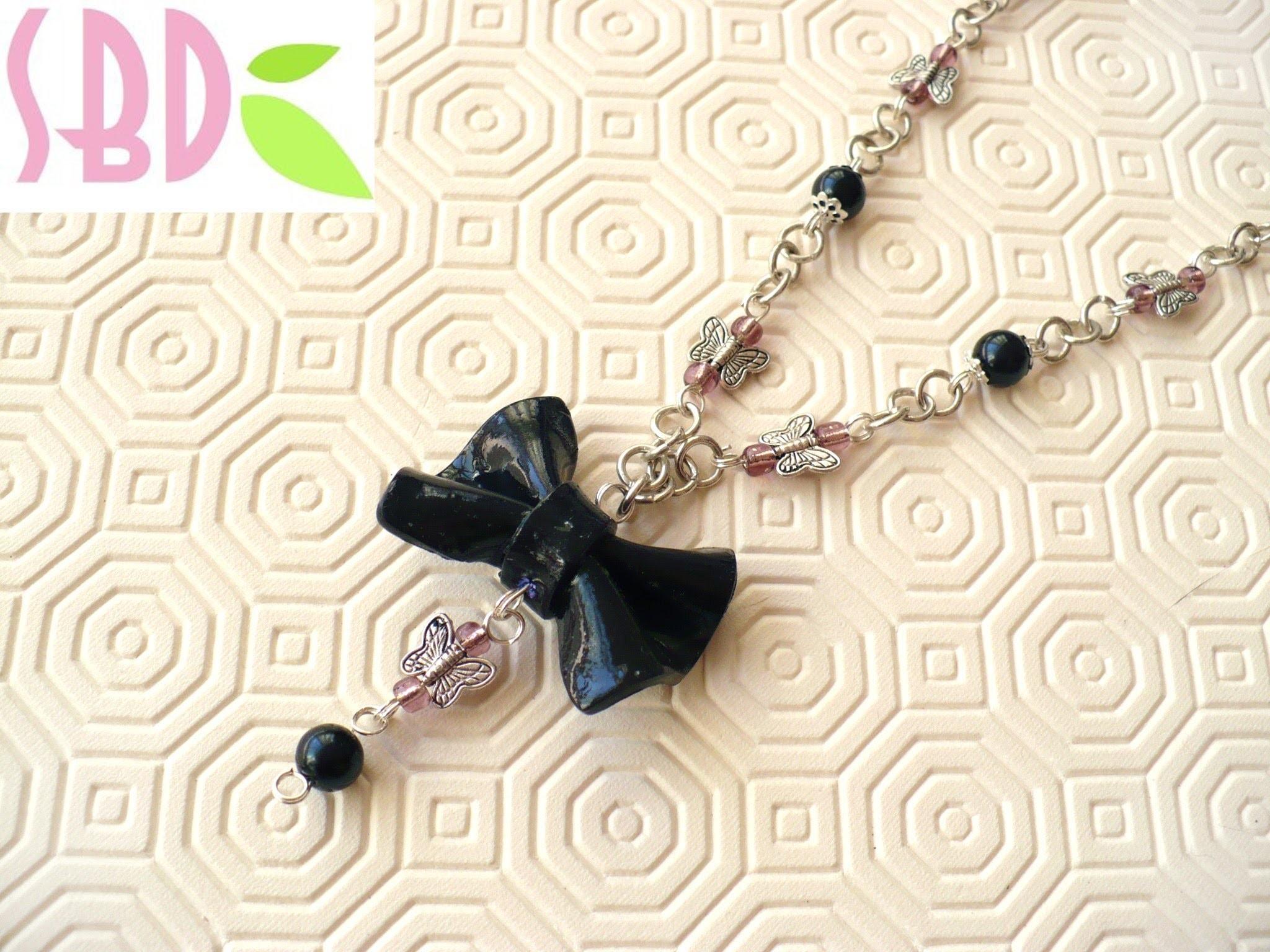 Tutorial: montaggio Collana con fiocco in fimo - Necklace with fimo bow