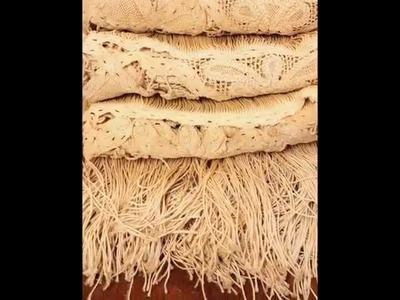 Coppia tende antiche puro lino realizzate a mano ad uncinetto