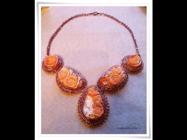 Collana con cammei scolpiti a mano, anelli labradorite e druzy  handmade shell carved cameo