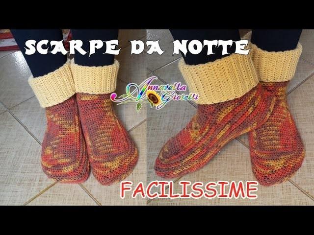 Scarpe da Notte SEMPLICISSIME all'Uncinetto SENZA diminuzioni   How to crochet socks